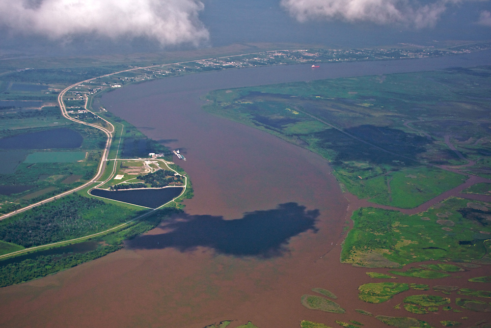 Mississippi River at Fort Jackson, Buras, Louisiana, USA (View NW)