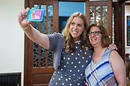 June 21, 2017. Garden City, New York, USA. Sue Moller takes selfie with Beth.