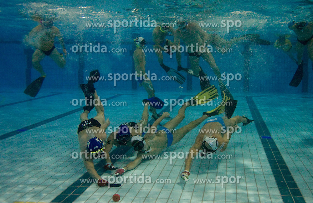 National team of Turkey vs National team of Hungary during the day three of the CMAS World UWH Championships at the Olympic pool on August 26, 2009 in Kranj, Slovenia. (Photo by Vid Ponikvar / Sportida)