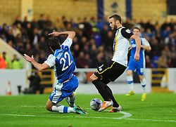 Bristol Rovers' Andy Monkhouse is challenged by Chester's Ben Heneghan - Photo mandatory by-line: Neil Brookman/JMP - Mobile: 07966 386802 - 22/11/2014 - Sport - Football - Chester - Deva Stadium - Chester v Bristol Rovers - Vanarama Football Conference