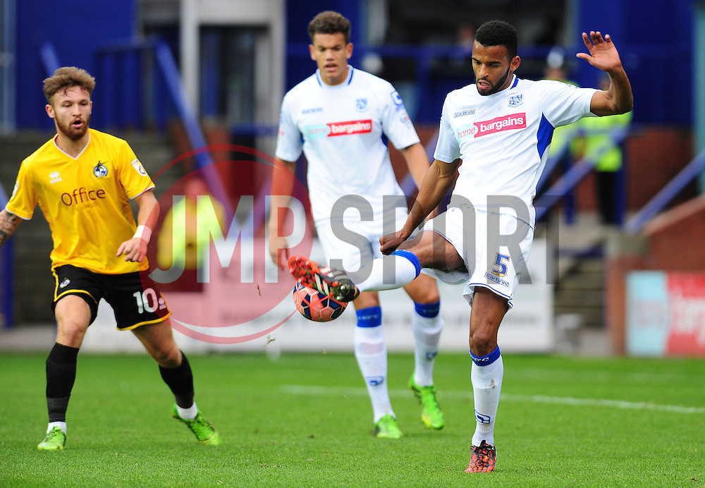 Tranmere Rovers's Michael Ihiekwe misses a clearance - Photo mandatory by-line: Neil Brookman/JMP - Mobile: 07966 386802 - 08/11/2014 - SPORT - Football - Birkenhead - Prenton Park - Tranmere Rovers v Bristol Rovers - FA Cup - Round One