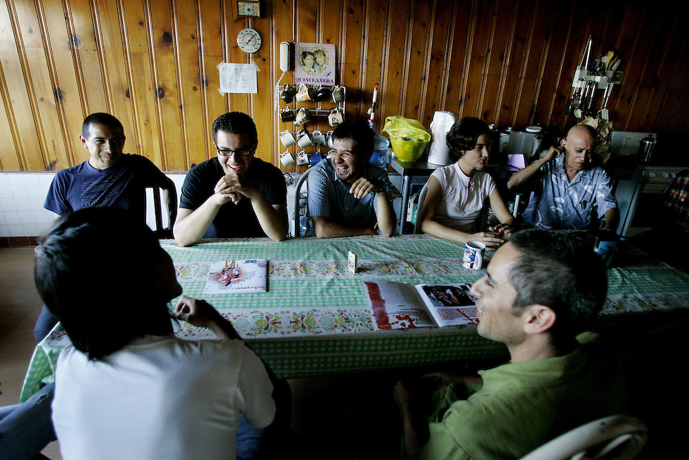 TIJUANA, MEXICO:  View of artists meeting in the kitchen area at Bulbo in Tijuana, Mexico.