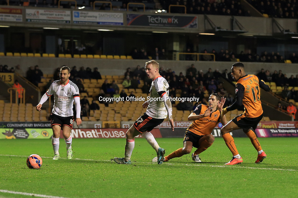 13th January 2015 - FA Cup - 3rd Round Replay - Wolverhampton Wanderers v Fulham - David Edwards of Wolves scores their 1st goal - Photo: Simon Stacpoole / Offside.