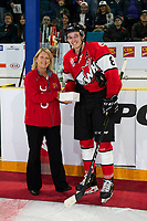 KAMLOOPS, CANADA - NOVEMBER 5:  Cody Glass #8 of Team WHL accepts the player of the game award after the win against the Team Russia on November 5, 2018 at Sandman Centre in Kamloops, British Columbia, Canada.  (Photo by Marissa Baecker/Shoot the Breeze)