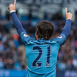 Manchester City midfielder David Silva (21) celebrates scoring the opening goal in the English Premier League match between Manchester City and Crystal Palace<br /> (c) John Baguley | SportPix.org.uk