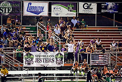 20 June 2015. New Orleans, Louisiana.<br /> National Premier Soccer League. NPSL. <br /> Jesters 1 - Knoxville 1.<br /> Jesters fans The Royal Court watch on as the New Orleans Jesters play Knoxville Force at home in the Pan American Stadium. Jesters drew 1-1 with Knoxville.<br /> Photo; Charlie Varley/varleypix.com