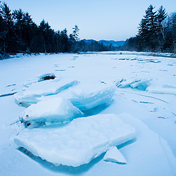 Ice on the Saco River in New Hampshire's White Mountains.