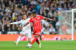 May 2, 2018 - Madrid, Spain - MADRID, SPAIN. May 1, 2018 - Lucas Vazquez and David Alaba. With a 2-2 draw against Bayern Munchen, Real Madrid made it to the UEFA Champions League Final for third time in a row. Kimmich and James scored for the german squad while Karim Benzema did it twice for los blancos. Goalkeeper Keylor Navas had a great night with several decisive interventions. (Credit Image: © VW Pics via ZUMA Wire)