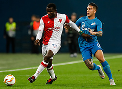 October 4, 2018 - Saint Petersburg, Russia - Sebastian Driussi (R) of FC Zenit Saint Petersburg and Michael Ngadeu-Ngadjui of SK Slavia Prague vie for the ball during the Group C match of the UEFA Europa League between FC Zenit Saint Petersburg and SK Sparta Prague at Saint Petersburg Stadium on October 4, 2018 in Saint Petersburg, Russia. (Credit Image: © Mike Kireev/NurPhoto/ZUMA Press)
