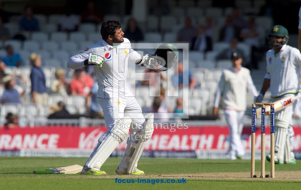 Batsman Azhar Ali of Pakistan punches the air after they draw the series during Day Four of the fourth Investec Test Match at the Kia Oval, London<br /> Picture by Alan Stanford/Focus Images Ltd +44 7915 056117<br /> 14/08/2016
