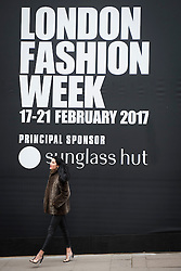 General view of the BFC Showspace London Fashion Week sign during London Fashion Week Autumn/Winter 2017 in London.  Picture date: Saturday 18th February 2017. Photo credit should read: DavidJensen/EMPICS Entertainment