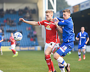 Crewe defender Harry Davis and Gillingham forward Luke Norris during the Sky Bet League 1 match between Gillingham and Crewe Alexandra at the MEMS Priestfield Stadium, Gillingham, England on 12 March 2016. Photo by David Charbit.