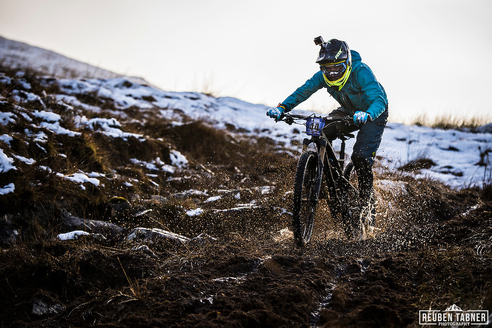 Johnpaul Cunningham gets loose as he decends stage one of the Kinlochleven Enduro.