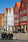 """The UNESCO World Herritage Site """"Bryggen"""" in Bergen, the largest city in western Norway and the seconbd largest in the country."""