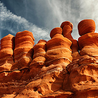 Giant wall of rock formations on Navajo Nation Land in Northern, AZ