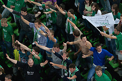 Fans of Krka during basketball match between KK Union Olimpija and KK Krka in 4nd Final match of Telemach Slovenian Champion League 2011/12, on May 24, 2012 in Arena Stozice, Ljubljana, Slovenia. Krka defeated Union Olimpija 65-55. (Photo by Grega Valancic / Sportida.com)