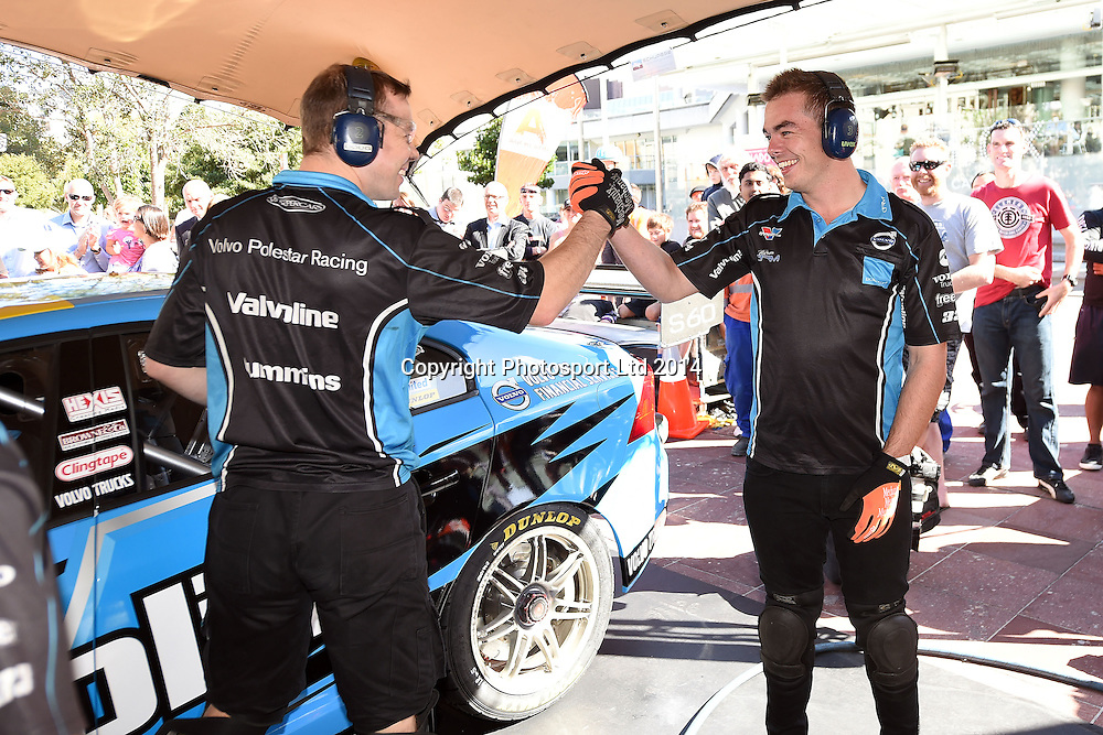 Kiwi Scott McLaughlin, V8 Supercar drivers participate in a pit stop competition and fan signing session in Aotea Square, Queen St, Auckland ahead of this weekends ITM 500. 23 April 2014. Photo: Andrew Cornaga/www.photosport.co.nz