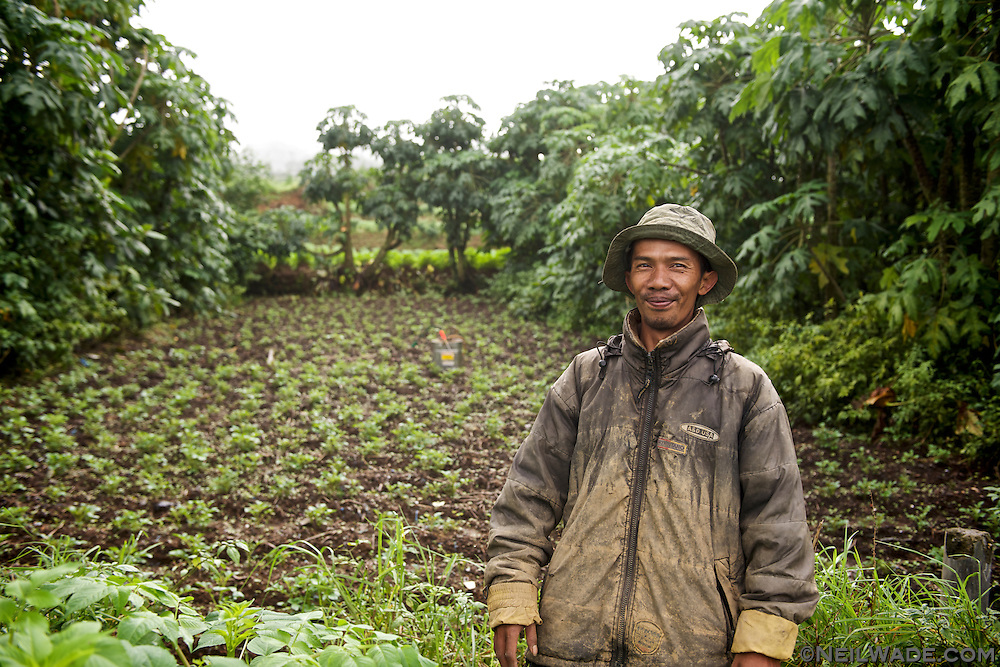 A Javanese farmer takes a break from tending his fields to pose for me in Dieng, Indonesia.
