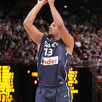 15 July 2012: Boris Diaw of Team France takes a jumpshot during a pre-Olympic exhibition game won 75-70 by Spain over France, at the Palais Omnisports de Paris Bercy, in Paris, France.