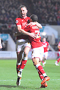 Bristol City forward Peter Odemwingie celebrates scoring his goal to make it 1-1 with Bristol City forward Aaron Wilbraham during the Sky Bet Championship match between Bristol City and Rotherham United at Ashton Gate, Bristol, England on 5 April 2016. Photo by Graham Hunt.
