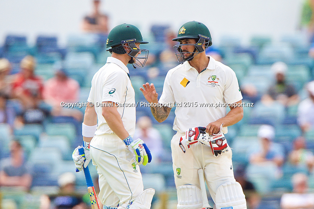 Mitchell Johnson of Australia and Peter Nevill of Australia talk mid-wicket during Day 5 on the 17th of November 2015. The New Zealand Black Caps tour of Australia, 2nd test at the WACA ground in Perth, 13 - 17th of November 2015.   Photo: Daniel Carson / www.photosport.nz
