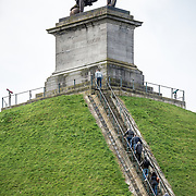 Steps leading to the top of the Lion's Mound (Butte du Lion), an artificial hill built on the battlefield of Waterloo to commemorate the location where William II of the Netherlands was injured during the battle. The hill is situated on a spot along the line where the Allied army under the Duke of Wellington's command took up positions during the Battle of Waterloo.