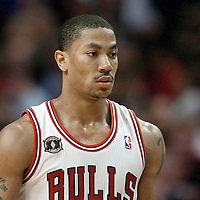 18 May 2011: Chicago Bulls point guard Derrick Rose (1) rests during the Miami Heat 85-75 victory over the Chicago Bulls, during game 2 of the Eastern Conference finals at the United Center, Chicago, Illinois, USA.