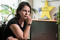 02 JUL 2019, BERLIN/GERMANY:<br /> Annalena Baerbock, MdB, B90/Gruene, Parteivorsitzende, waehrend einem Interview, in ihrem Buero, Jakob-Kaiser-Haus, Deutscher Bundestag<br /> IMAGE: 20190702-01-009
