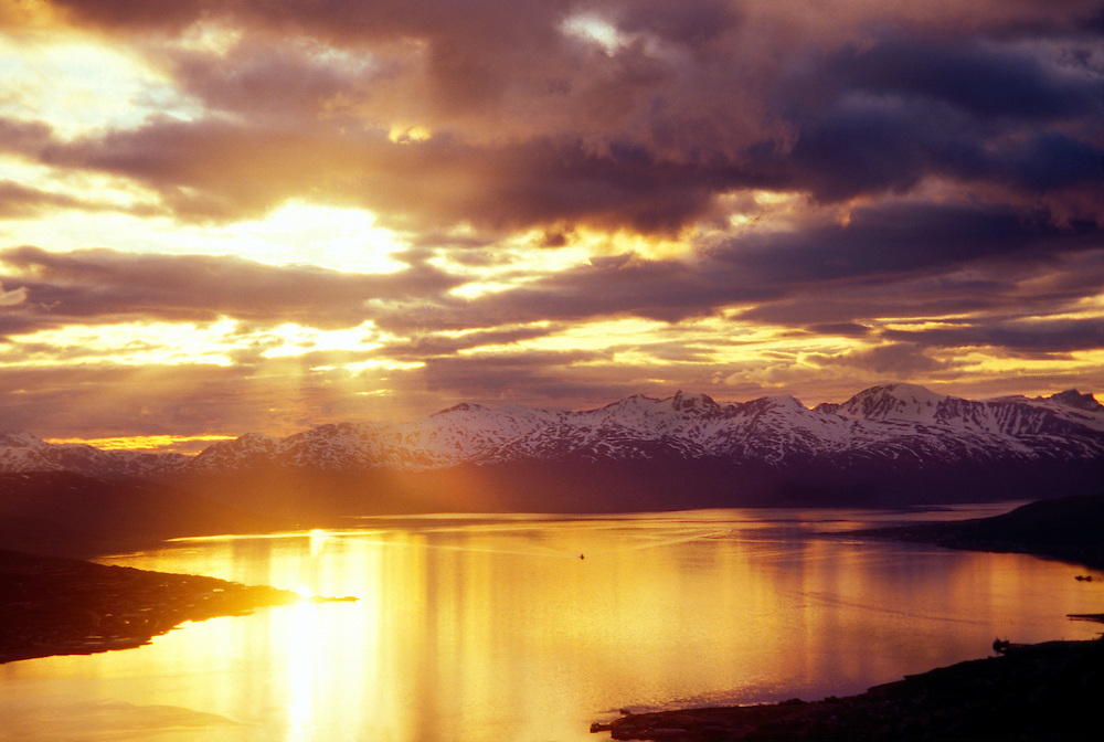 Midnight sun, view from Fjellheisen, above Tromso, in the Arctic, Northern Norway