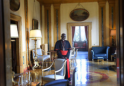 Cardinal Robert Sarah of Guinea at Villa Bonaparte in Rome, Italy on December 6, 2014. He is the prefect of the Congregation for Divine Worship and the Discipline of the Sacraments. Highest authority on liturgical matters in the Church he recently appealed to the priests to face East during their liturgical celebrations.He is the author of the books God Or Nothing: A Conversation On Faith and La Force Du Silence (in French). The cardinal from a remote African village has become a standard bearer for Catholic orthodoxy and has emerged as a serious papabile. Photo by Eric Vandeville/ABACAPRESS.COM