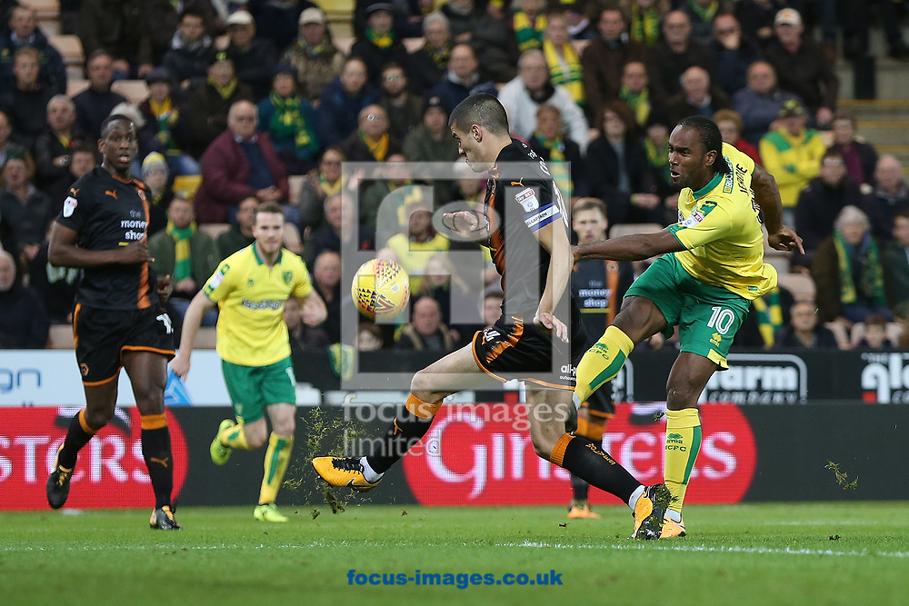 Cameron Jerome of Norwich has a shot on goal during the Sky Bet Championship match at Carrow Road, Norwich<br /> Picture by Paul Chesterton/Focus Images Ltd +44 7904 640267<br /> 31/10/2017