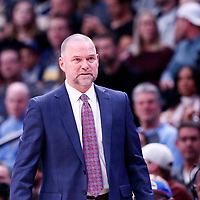 01 April 2018: Denver Nuggets head coach Michael Malone is seen during the Denver Nuggets 128-125 victory over the Milwaukee Bucks, at the Pepsi Center, Denver, Colorado, USA.