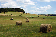hay bales in rural landscape South France Aude