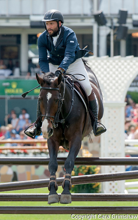 PATRICIO PASQUEL (MEX) rides CANDELA in the 1.50m Derby Nexen Cup during National CSI 5* at Spruce Meadows presented by Rolex, June 7 2015. Calgary.