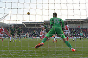 Rotherham United player Michael Smith (24) scores goal to go 1-1 during the EFL Sky Bet League 1 match between Rotherham United and Doncaster Rovers at the AESSEAL New York Stadium, Rotherham, England on 24 February 2018. Picture by Ian Lyall.