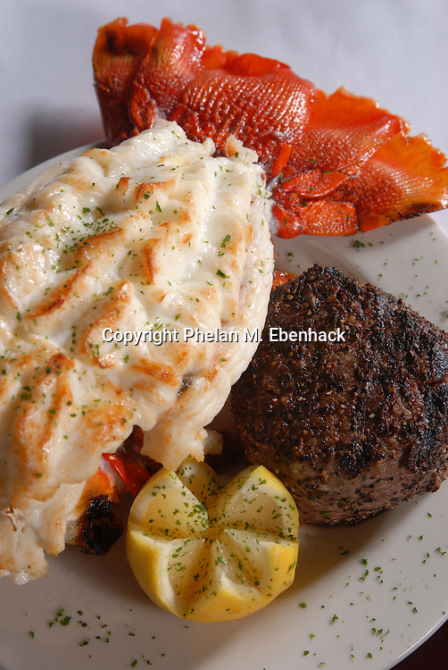 A plate of Lobster and Filet Mignon from a restaurant in Orlando, Florida.