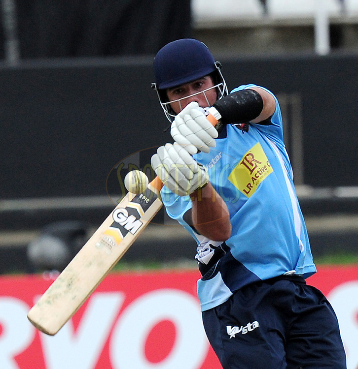 Andre Adams during match 8 of the Karbonn Smart CLT20 South Africa between The Titans and The Auckland Aces held at Kingsmead Park in Durban, South Africa on the 17th October 2012..Photo by Gerhard Duraan/SPORTZPICS/CLT20