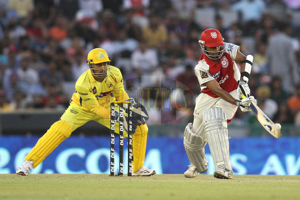 Paul Valthaty of the Kings XI Punjab plays a lap shot to a delivery during match 9 of the Indian Premier League ( IPL ) Season 4 between the Kings XI Punjab and the Chennai Super Kings held at the PCA stadium in Mohali, Chandigarh, India on the 13th April 2011..Photo by Shaun Roy/BCCI/SPORTZPICS
