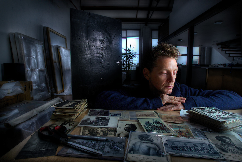 Artists series. BROOK ANDREW in his footscray studio. Pic By Craig Sillitoe CSZ/The Sunday Age.1/10/2011 melbourne photographers, commercial photographers, industrial photographers, corporate photographer, architectural photographers, This photograph can be used for non commercial uses with attribution. Credit: Craig Sillitoe Photography / http://www.csillitoe.com<br /> <br /> It is protected under the Creative Commons Attribution-NonCommercial-ShareAlike 4.0 International License. To view a copy of this license, visit http://creativecommons.org/licenses/by-nc-sa/4.0/.