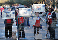 People protest the Republican Presidential Debate at the University of Houston in Houston, Texas on February 25, 2016.