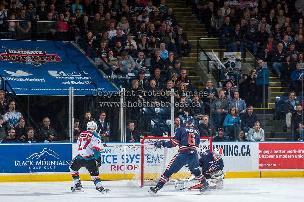 KELOWNA, CANADA - MARCH 25: Calvin Thurkauf #27 of the Kelowna Rockets takes a shot on Connor Ingram #39 of the Kamloops Blazers on March 25, 2017 at Prospera Place in Kelowna, British Columbia, Canada.  (Photo by Marissa Baecker/Shoot the Breeze)  *** Local Caption ***
