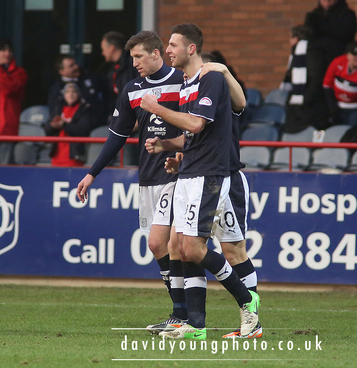 Dundee's Lewis Toshney is congratulated after scoring - Dundee v Greenock Morton, William Hill Scottish Cup 5th Round at Dens Park .. - © David Young - www.davidyoungphoto.co.uk - email: davidyoungphoto@gmail.com