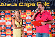 VILLIESRDORP, SOUTH AFRICA - Elana Myer of the JAG Foundation and MC Dan Nichol during stage one of the Absa Cape Epic Mountain Bike Stage Race held between Gordon's Bay and Villiersdorp on the 22 March 2009 in the Western Cape, South Africa..Photo by Nick Muzik  /SPORTZPICS