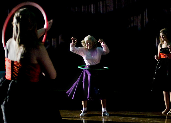 "Mary K. Parker takes part in the hula hoop competition during a sock hop hosted by the Vicksburg Convention Center and Auditorium at the Vicksburg Auditorium in Vicksburg, Miss. on Jan. 15, 2011. The sock hop was put on to promote the premiere of the traveling Broadway show ""All Shook Up."""
