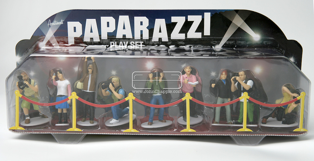 7th April 2008, Hollywood, California. For the celebrity obsessed, who want to bring the Hollywood experience home, now you can have a pack of paparazzi photographers in the palm of your hand, with the Paparazzi Playset. For $20.00, you can now own your own playset of nine celebrity chasing photographers, complete with a red carpet and velvet ropes made from cardboard..© JOHN CHAPPLE / REBEL IMAGES.john@chapple.biz    www.chapple.biz