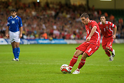 CARDIFF, WALES - Friday, September 5, 2008: Wales' Jason Koumas sees his penalty kick saved against Azerbaijan during the opening 2010 FIFA World Cup South Africa Qualifying Group 4 match at the Millennium Stadium. (Photo by David Rawcliffe/Propaganda)
