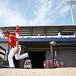 March 4, 2011; Viera, FL, USA; Washington Nationals shortstop Danny Espinosa (18) runs out for warm ups before a spring training exhibition game against the Atlanta Braves at Space Coast Stadium.  Mandatory Credit: Derick E. Hingle