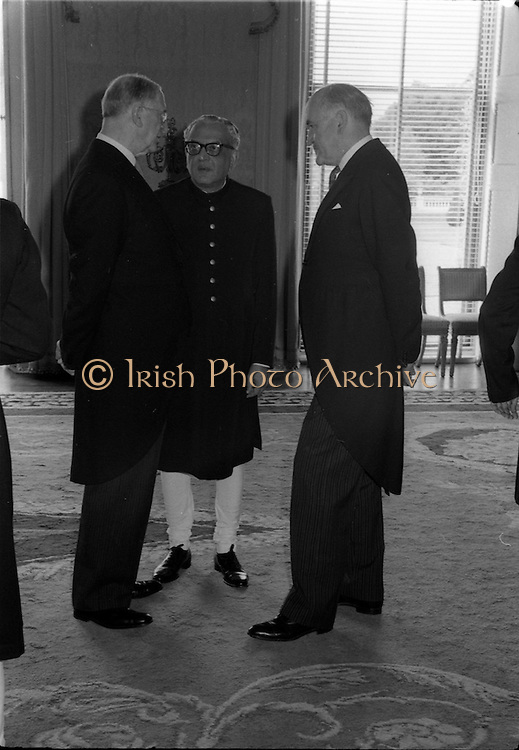 02/08/1962<br /> 08/02/1962<br /> 02 August 1962<br /> Indian Ambassador presents credentials at Aras an Uachtarain. New Indian Ambassador Mr Mohammedali Currim Chagha presented his letters of Credence to President Eamon de Valera. Picture shows President de Valera chatting with the new ambassador and Mr Frank Aiken Minister for External Affairs.