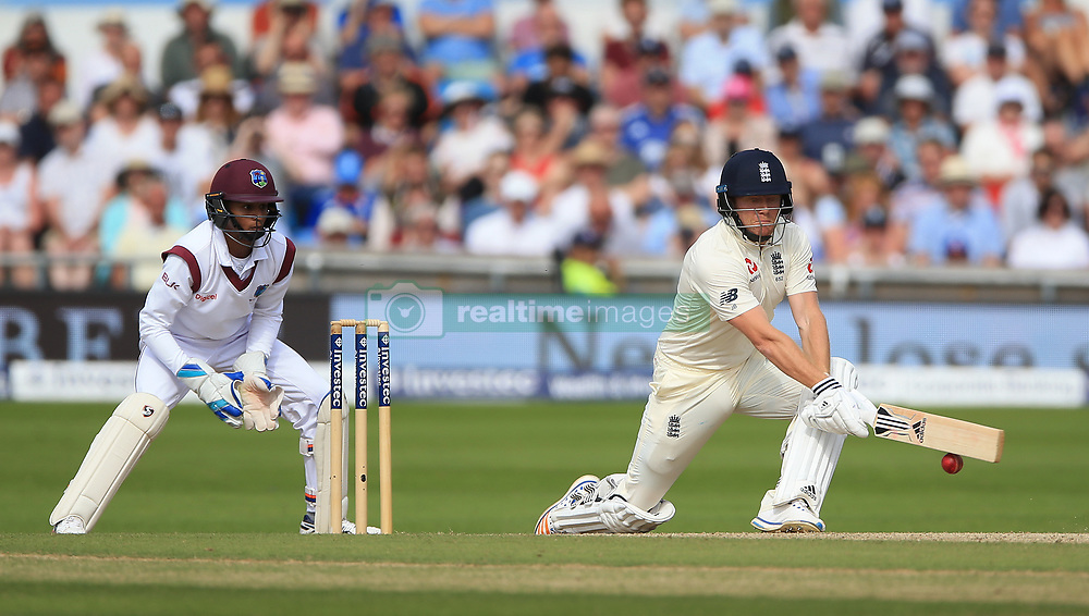England's Jonny Bairstow plays a reverse sweep and is bowled by West Indies Roston Chaseduring day four of the the second Investec Test match at Headingley, Leeds.