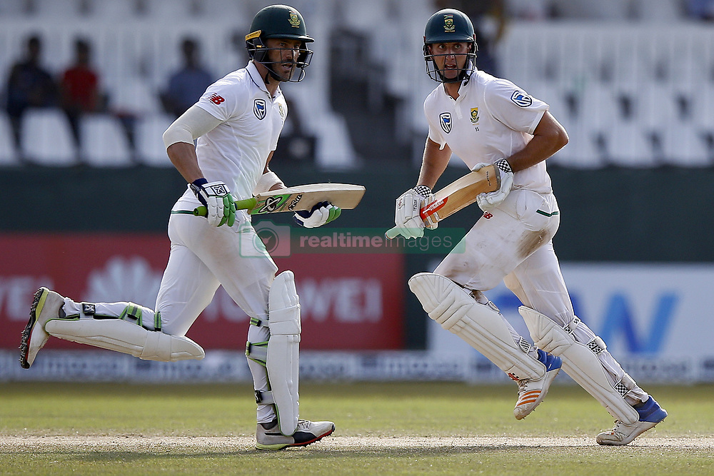 July 22, 2018 - Colombo, Sri Lanka - South African cricket captain Faf Du Plessis and Theunis de Bruyn run between the wickets during the 3rd day's play in the 2nd test cricket match between Sri Lanka and South Africa at SSC International Cricket ground, Colombo, Sri Lanka on Sunday  22 July 2018  (Credit Image: © Tharaka Basnayaka/NurPhoto via ZUMA Press)